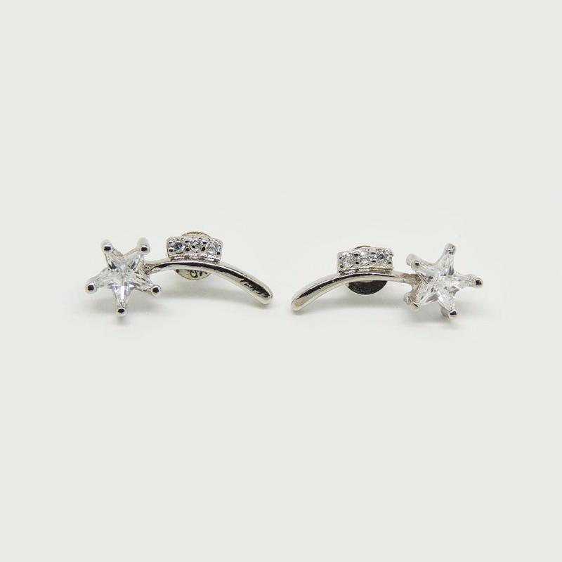 Shooting Stars Earrings in White Gold Filled with Gemstones
