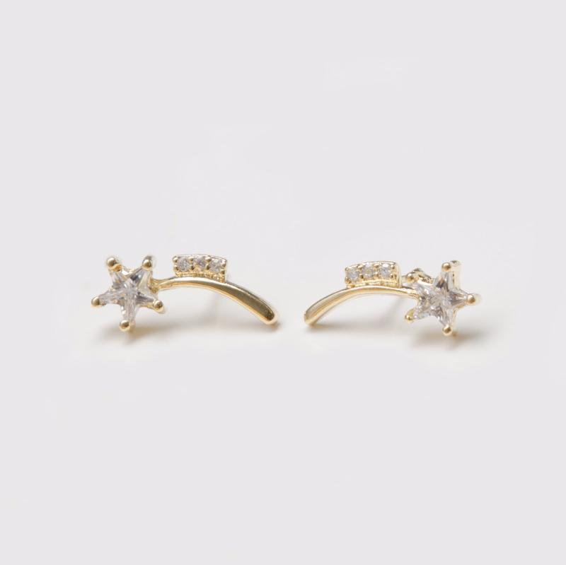 Shooting Stars Earrings in Gold Filled with Gemstones