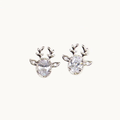 Deer Earrings in White Gold Filled with Gemstones
