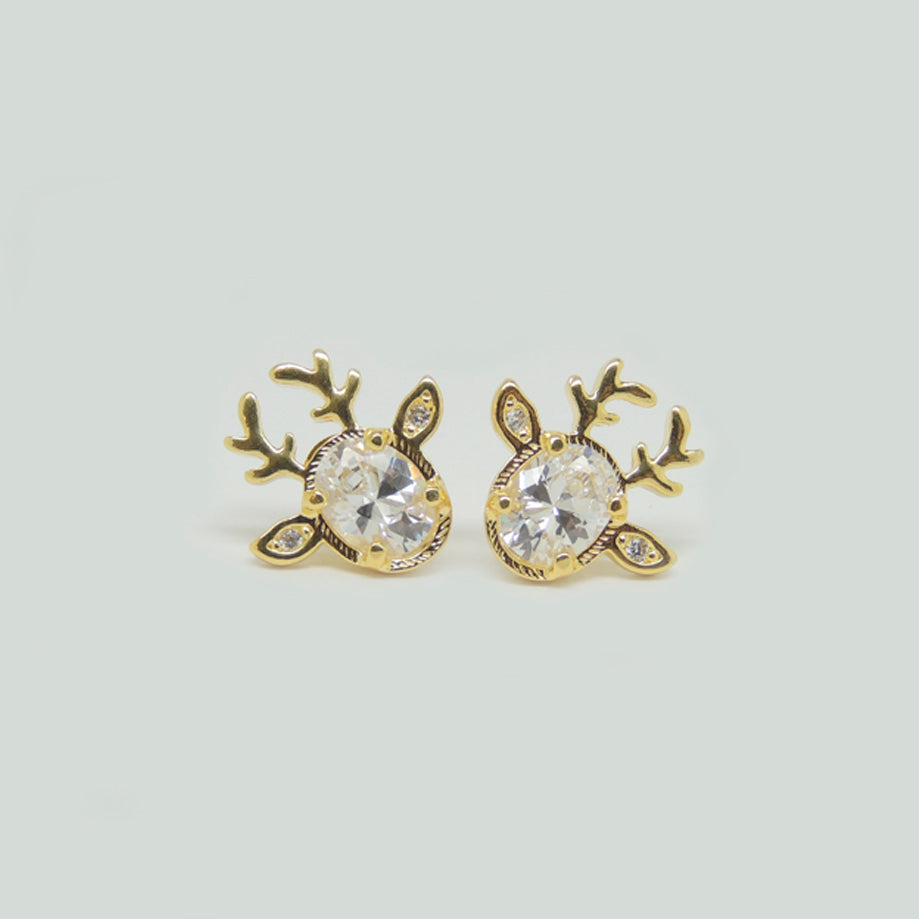 Deer Earrings in Gold Filled with Gemstones