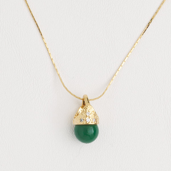 Green Pendant Necklace in Yellow Gold Filled, Ball Pendant with Cubic Zirconia