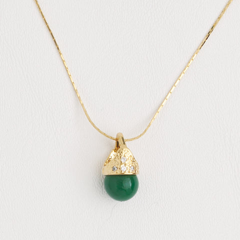 Necklace Lady Di Style Pendant in Yellow Gold Filled Green Gemstone