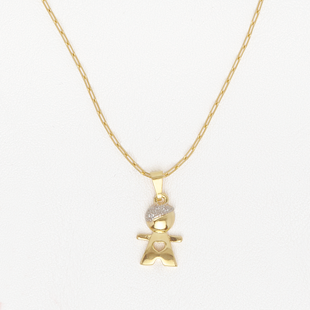 Necklace Boy/Girl Pendant with Heart in Yellow Gold Filled