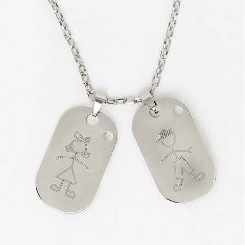 Tag Necklace in Stainless Steel Boy/Girl Pendant