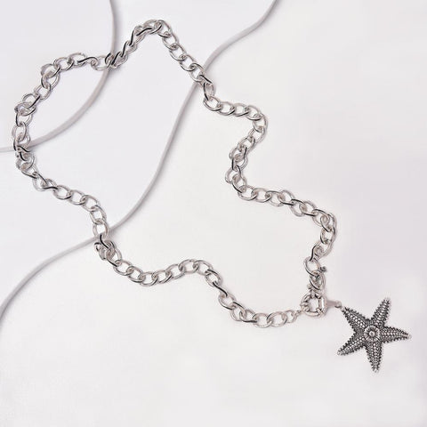 Starfish Necklace in Aged White Gold Plated