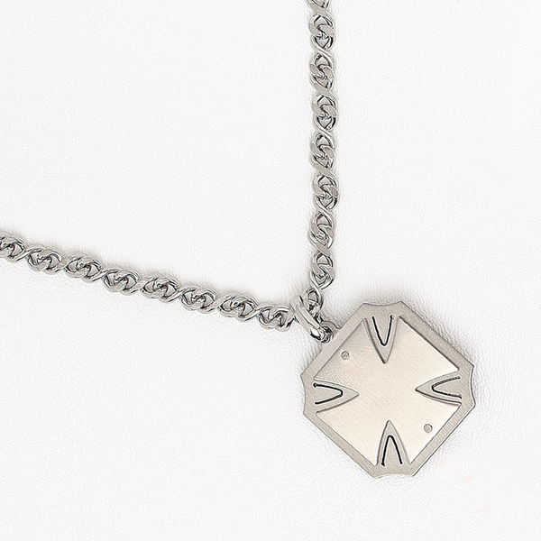Malta Cross Pendant Necklace in Stainless Steel