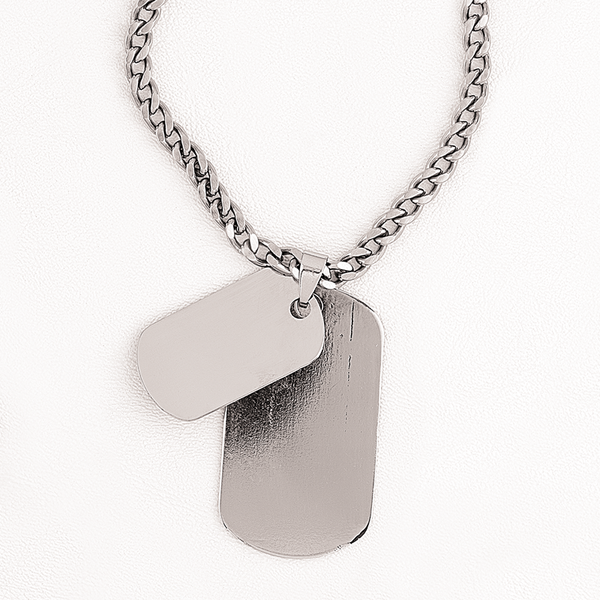 Double Tag Necklace in Stainless Steel