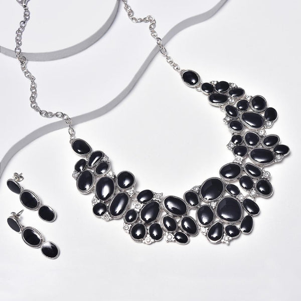Statement Necklace & Dangle Earrings in Aged White Gold Filled with Clear Gemstones & Black Enamel