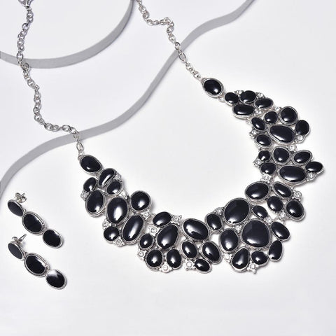 Statement Necklace & Dangle Earrings in Aged White Gold Plated with Clear Gemstones & Black Enamel