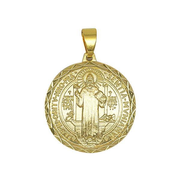 St Benedict Medal in Yellow Gold Filled or Sterling Silver