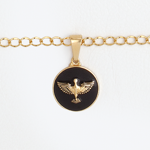 14K Yellow Gold Filled Medal Holy Spirit Black Enamel Pendant
