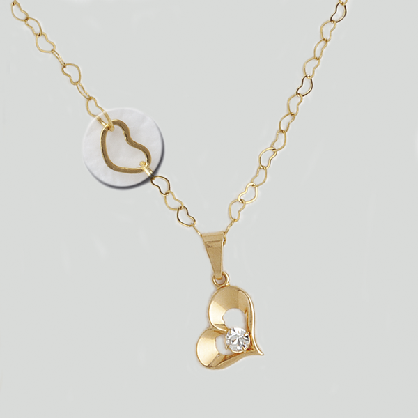 Heart Necklace in Yellow Gold Filled with Gemstone