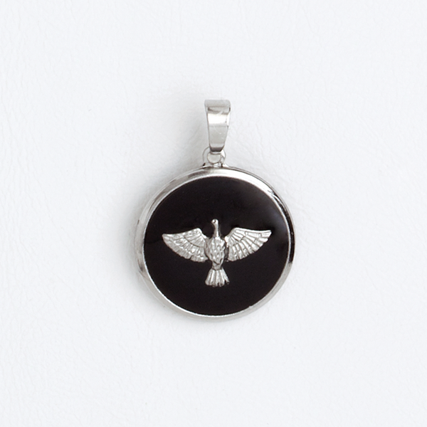 Stainless Steel Medal Holy Spirit Black Enamel Pendant