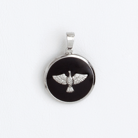 Holy Spirit Medal in Stainless Steel and Black Enamel
