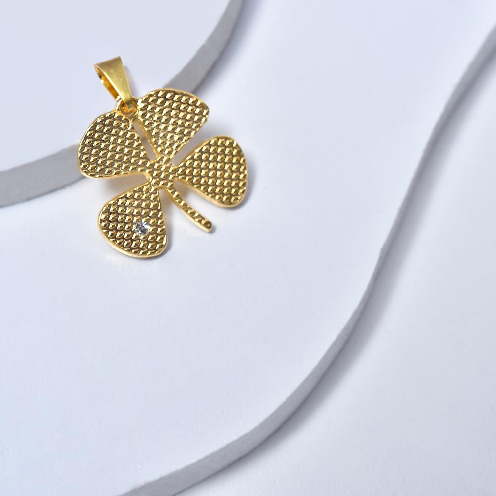 Clover Pendant in Yellow Gold Filled with Gemstone