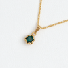 Necklace in 14k Yellow Gold Filled Green Gemstone Pendant