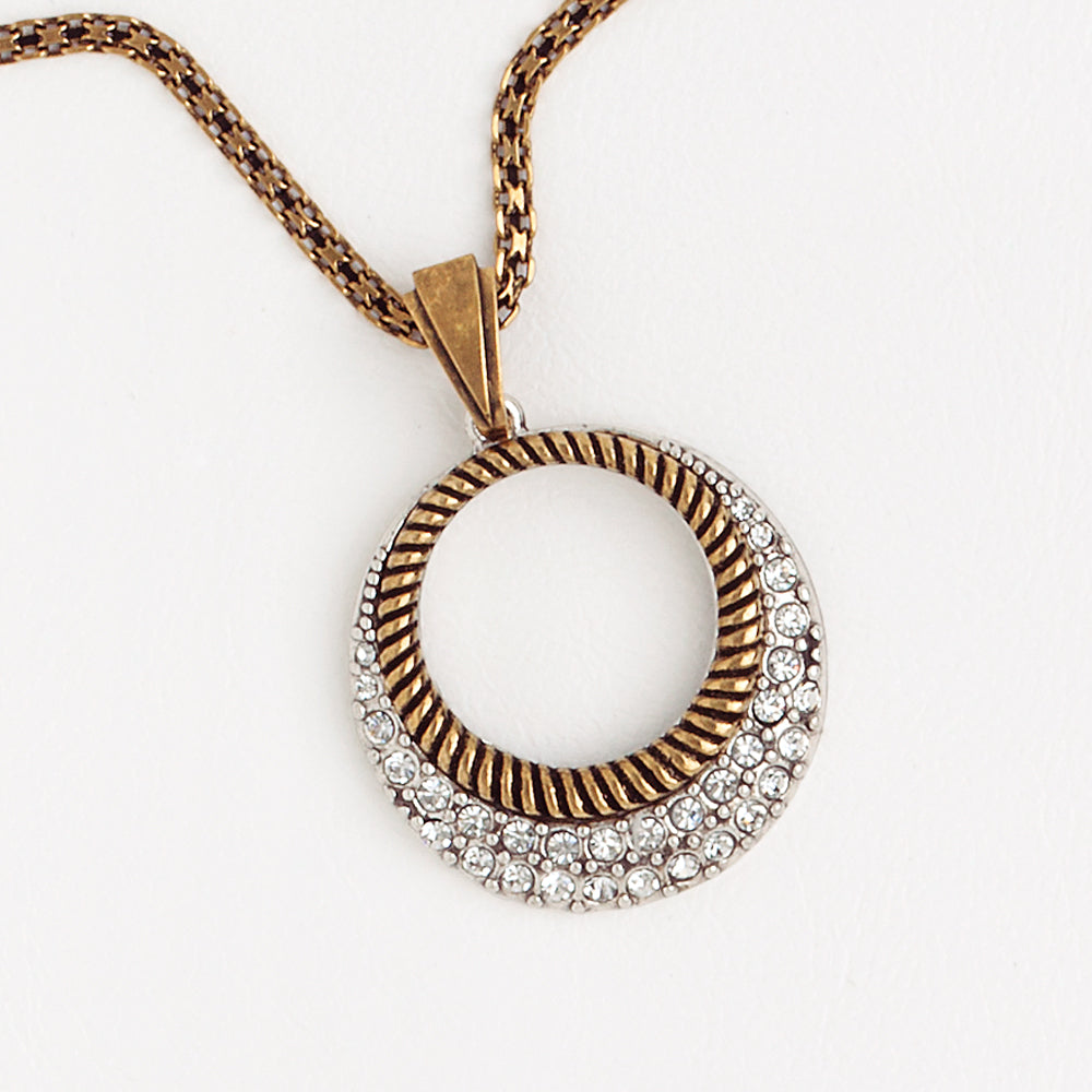 Circle Necklace, Aged Yellow  and White Gold Filled Pendant, Cubic Zirconia Gemstones