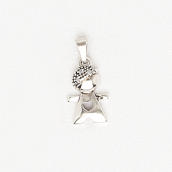 Necklace Boy/Girl Pendant with Heart in White Gold Filled