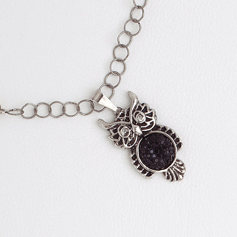 Owl Pendant Necklace for Women, White Gold Charm with Black Druzy Stone