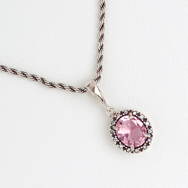 Rose Oval Necklace, Aged White Gold Filled Necklace, Cubic Zirconia Gemstones