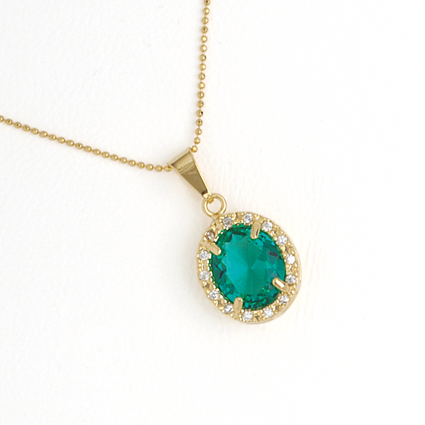 Green Oval Pendant in Yellow Gold Filled with Cubic Zirconia Gemstones