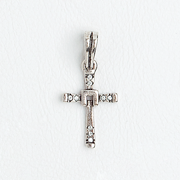 Cross Pendant 14k Aged White Gold Filled Clear Gemstones
