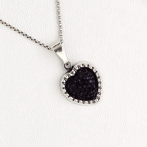 Heart Pendant Necklace for Women in White Gold Filled, Black Druzy Pendant and Chain