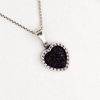 Druzy Heart Pendant Necklace in White Gold Filled