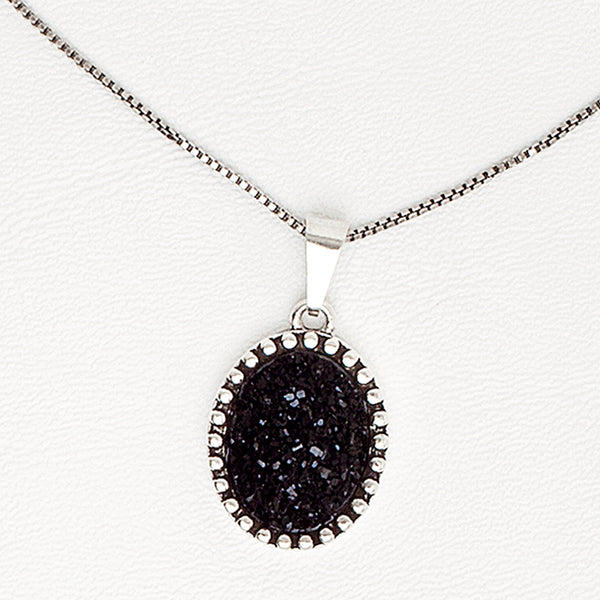 Black Pendant Necklace for Women in Aged White Gold Filled and Druzy Gemstone