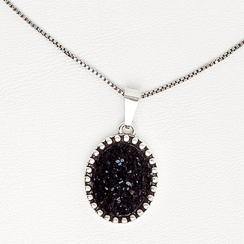 Black Necklace in Aged White Gold Filled with Druzy Gemstone