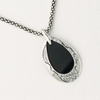 Necklace Drop Pendant with Black Acrylic & Gemstones Mesh Chain