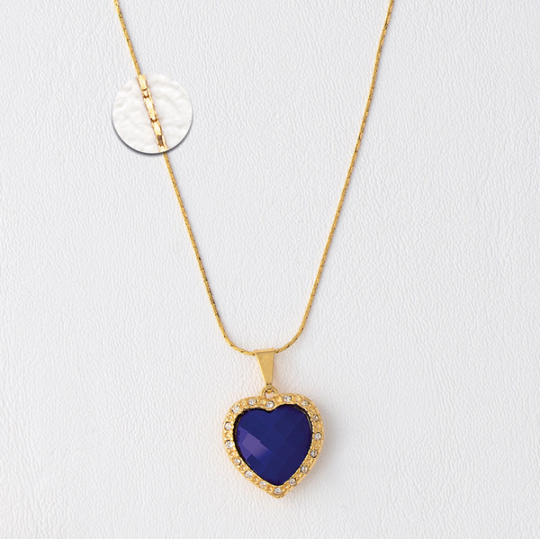 Purple Heart Necklace, Purple Necklace, Heart Necklace, Yellow Gold Plated Necklace