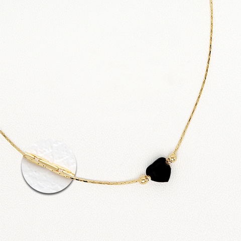 Black Heart Pendant in Yellow Gold Filled Necklace