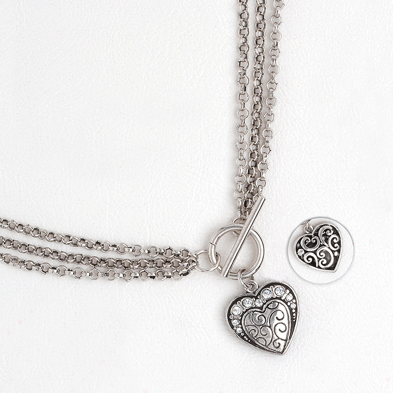 Necklace in Silver Color Heart Pendant with Gemstones