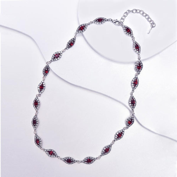 Red Necklace in Aged White Gold Plated with Cubic Zirconia Gemstones