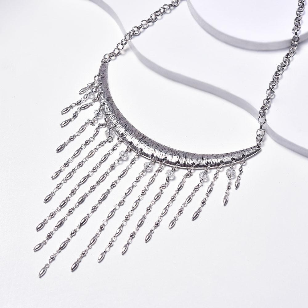 Chains Rain Necklace in Aged White Gold Plated with Glass Beads
