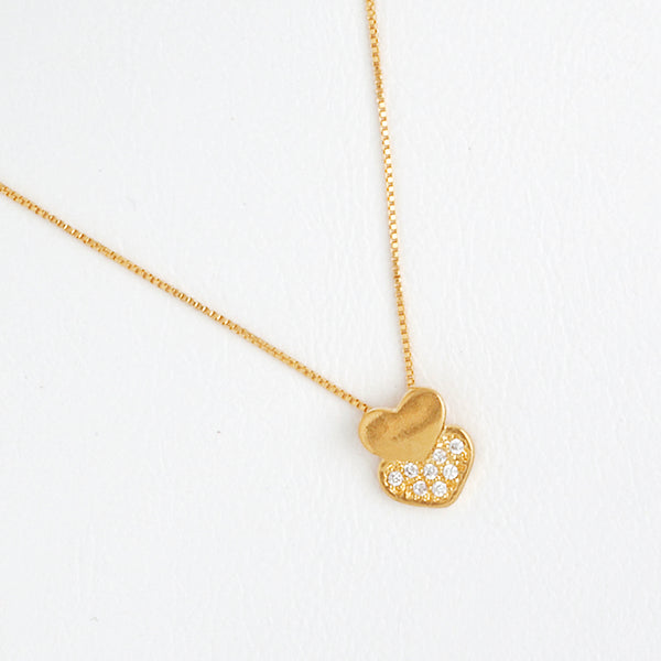 Heart Necklace inYellow Gold Filled with Gemstones