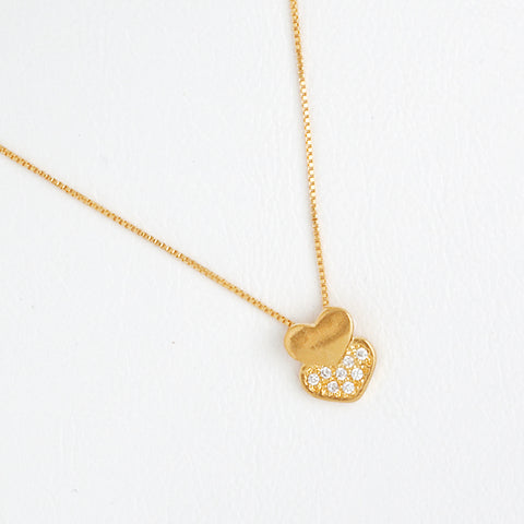 Heart Necklace in Gold Color with Gemstones