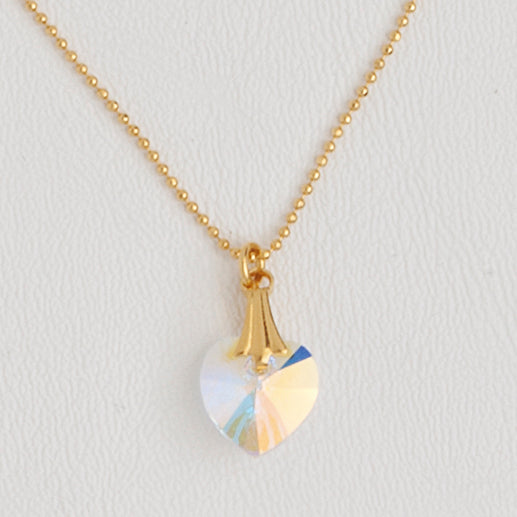 Heart Gemstone Necklace in Yellow Gold Filled