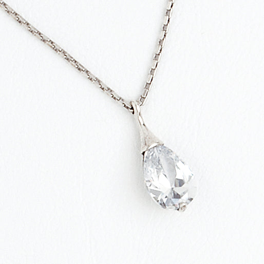 Drop Necklace in Aged White Gold Filled with Cubic Gemstone