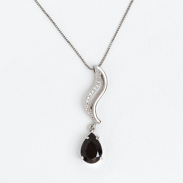Black Necklace in Aged White Gold Filled with Zircon Gemstones