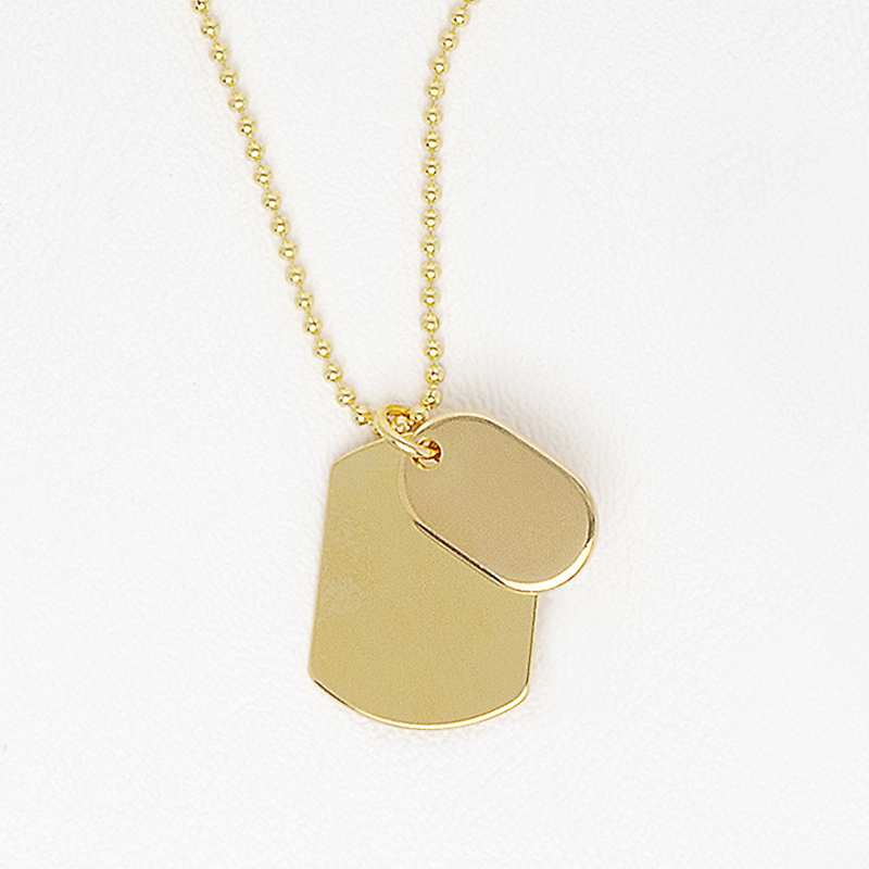Double Tag Necklace in Yellow Gold Filled