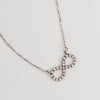 Infinity Necklace in Aged White Gold Filled with Gemstones