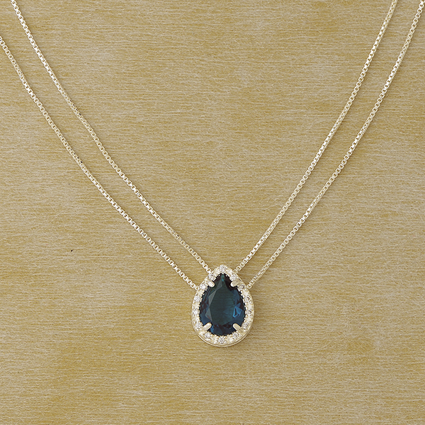 Zircon Drop Necklace in Plated Silver with Gemstones