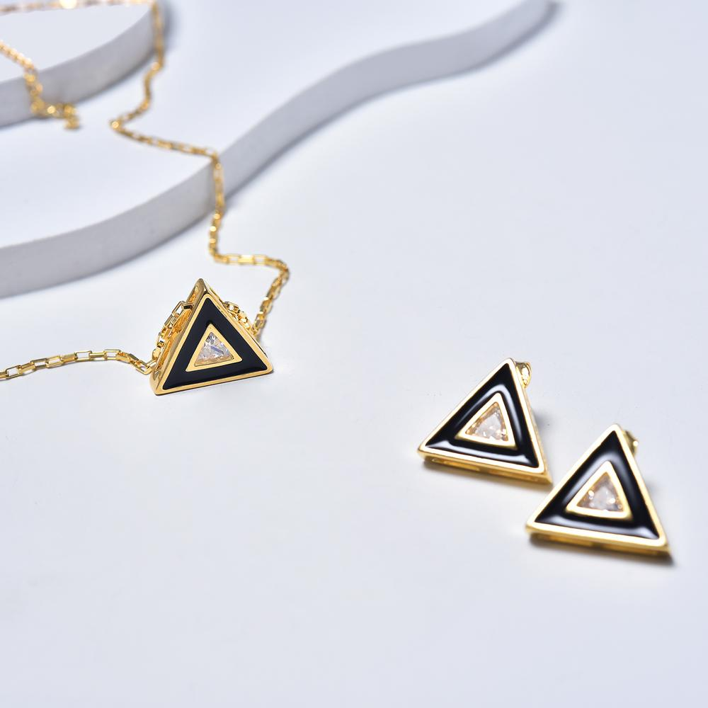 Triangle Necklace & Earrings in Yellow Gold Plated & Black Enamel