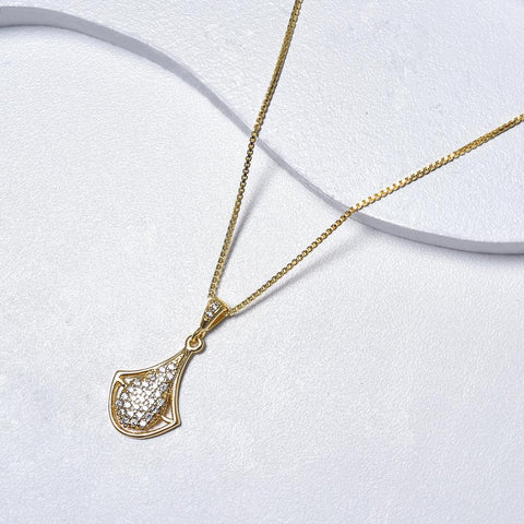 Drop Necklace in Yellow Gold Filled with White Cubic Zirconia Gemstones