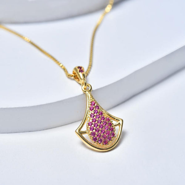 Drop Necklace in Yellow Gold Filled with Pink Cubic Zirconia Gemstones