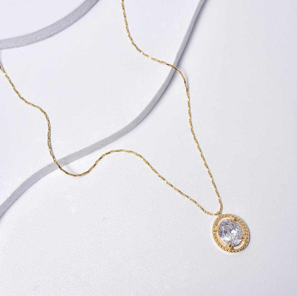 Clear Necklace in Yellow Gold Filled with Cubic Zirconia Gemstone Pendant
