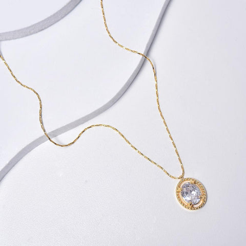 Clear Necklace in Yellow Gold Plated with Cubic Zirconia Gemstone Pendant