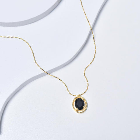 Black Necklace in Yellow Gold Plated with Cubic Zirconia Gemstone Pendant